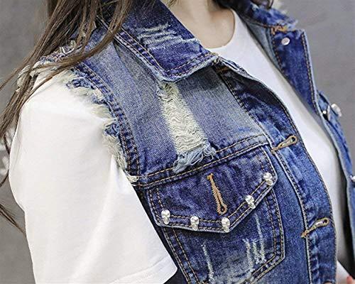 Tasche Breasted Single Casual Donna Bavero Estivi Smanicato Moda Corto Giovane Elegante Cappotto Di Strappato Anteriori Blau Gilet Cute Chic Jeans 44qvcpA