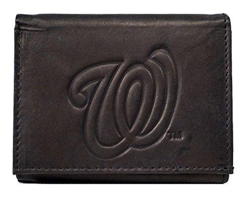 Rico Washington Nationals MLB Embossed Logo Black Leather Trifold Wallet