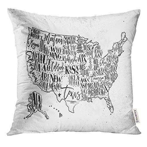 UPOOS Throw Pillow Cover Vintage USA Map with States Inscription California Florida Washington Texas New York Kansas Nevada Tennessee Decorative Pillow Case Home Decor Square 18x18 Inches Pillowcase ()