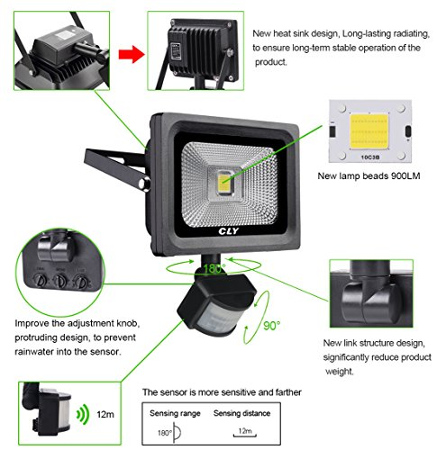 Cly Motion Sensor Led Flood Light 900 Lumens Cool White