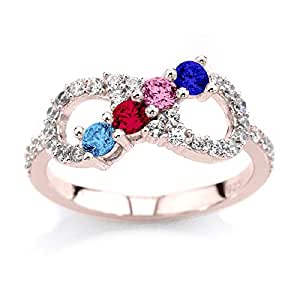 NANA Infinity Mothers Ring with 1 to 6 Simulated Birthstones - 10k Rose - Size 4