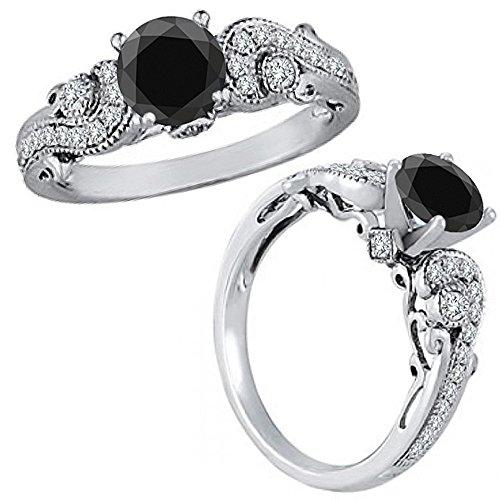 1.25 Carat Black Diamond Solitaire Engagement Wedding Bridal Women Fancy Ring 14K White Gold (Pink Diamond Fancy Ring)