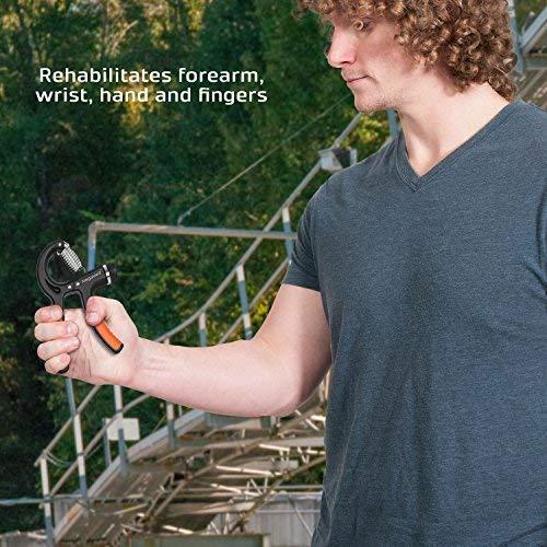 Stress Relief x2 Hand Strengthener Best 2 Pack Hand Trainer for Athletes /& Musicians Adjustable Range 10-50 KG BONUS eBook Hand Grip Strengthener Set Therapy Gripper Forearm Finger Exerciser