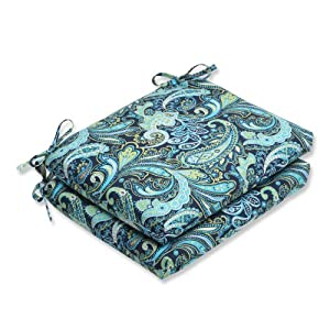 Pillow Perfect Outdoor Pretty Paisley Squared Corners Seat Cushion, Navy, Set of 2