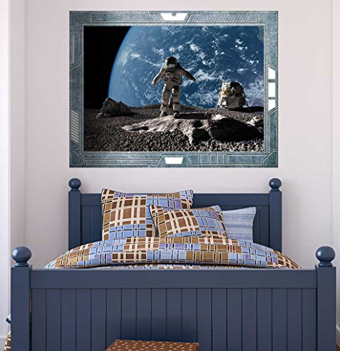 Science Fiction ViewPort Decal Walking on the Moon Wall Mural