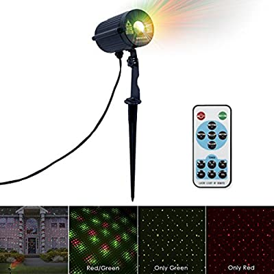 LED Concepts Laser Lights — Laser Projection with Automatic Timer Remote — Ideal Christmas, Holiday, Party, Outdoor, Garden Decorations—UL Listed Power Supply—(Red/Green)