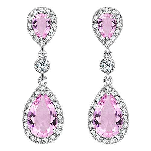 EleQueen 925 Sterling Silver Full Prong Cubic Zirconia Birthstone Teardrop Bridal Dangle Earrings ()