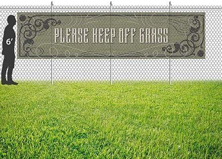 12x3 Victorian Gothic Wind-Resistant Outdoor Mesh Vinyl Banner Please Keep Off Grass CGSignLab