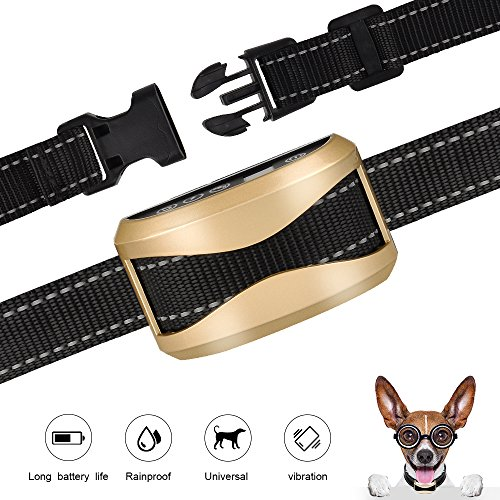 GEEDIAR Bark Collar, Dog No Bark Collars Vibration No Harm Shock Collar - USB Rechargeable Humane Anti Bark Training Collar - Stop Barking Collar for Small Medium Large Dogs (Gold) by GEEDIAR