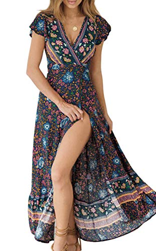Up Butterfly Cotton Cover - ZESICA Women's Bohemian Floral Printed Wrap V Neck Short Sleeve Split Beach Party Maxi Dress Navy
