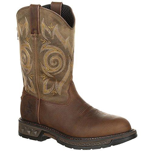 Full Grain Leather Boots - Georgia Men's Carbo-Tec LT Pull On Work Boots, Brown, Full-Grain Leather, Rubber, Polyurethane, 8 M
