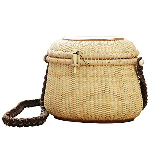 Crescent Purse Handwoven Rattan Cross body Bag for Women Leather Shoulder Straps Rattan Purse Straw Bags Women Weave Shoulder Bag Summer Beach Purse for Travel Everyday Use