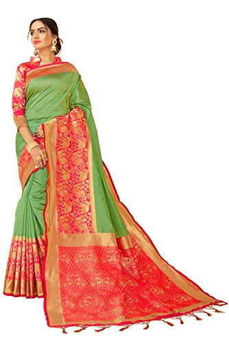 Designer Sarees Woven Sari Work Banarasi Art Silk Saree for women, Indian wear Saree With Unstitched Blouse Piece (Green 1)