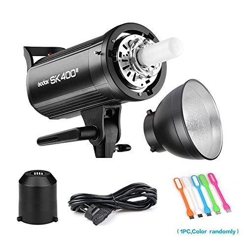 Heads Flash Studio (Godox SK400II 400Ws Photo Studio Strobe flash Monolight light With Bowens Mount &Lamp Head,150W Modeling Lamp for Studio,Shooting,Location and Portrait Photography-110V)