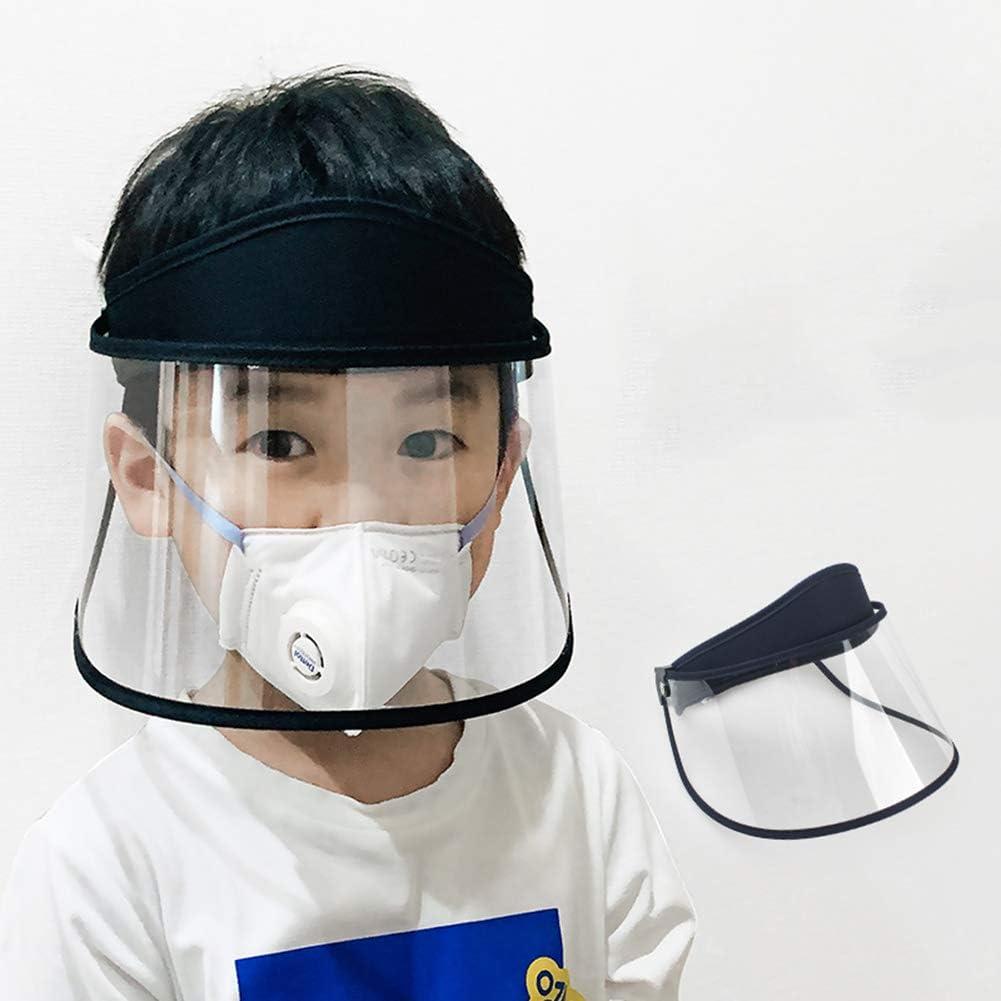 Visera Protectora para Niños, Pantalla Facial Transparente de Cara Completa Capucha de Aislamiento Facial Cara Transparente Antiniebla Cocina a Prueba de Humo y Salpicaduras