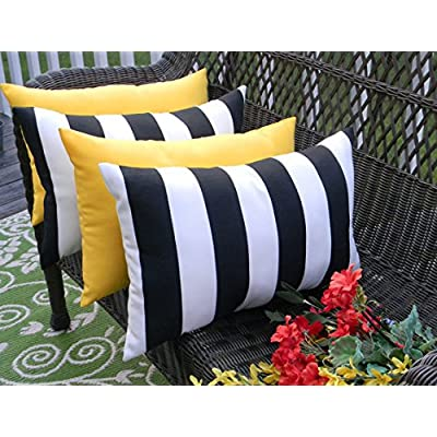 Resort Spa Home Decor Set of 4 Indoor/Outdoor Decorative Lumbar/Rectangle Pillows - 2 Black & White Stripe and 2 Solid Yellow : Garden & Outdoor