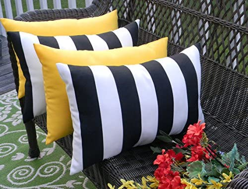 Resort Spa Home Decor Set of 4 Indoor Outdoor Decorative Lumbar Rectangle Pillows – 2 Black White Stripe and 2 Solid Yellow