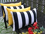 Set of 4 Indoor / Outdoor Decorative Lumbar / Rectangle Pillows - 2 Black & White Stripe and 2 Solid Yellow