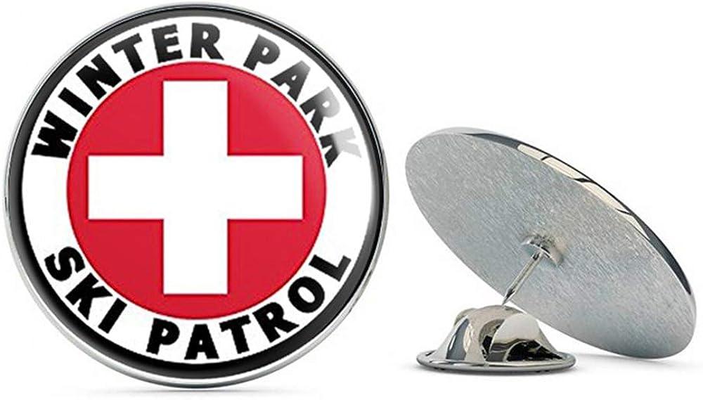 Metal 0.75 Lapel Hat Pin Tie Tack Pinback NYC Jewelers Round Winter Park SKI Patrol co Colorado Snow