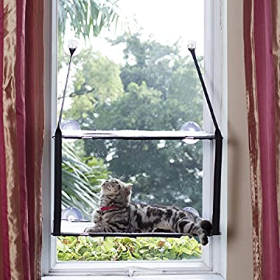 L.S Cat Window Perch Large Kitties Sunny Bed Up to 55lb Stable Metal Frame Cat Face Hammock Perfect with a Warming Bed (Double layers, Grey)