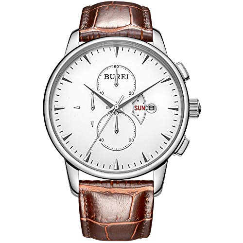 (BUREI Mens Women Chronograph Quartz Watches with Analog Dial Stainless Steel Case Calfskin Leather and Stainless Steel Band)