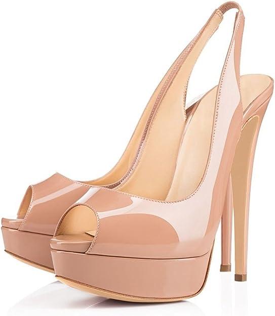 SOIR/ÉE Chaussures Cheville /élastique Femmes Sandales EDEFS Femme Bout Ouvert 14cm Talon Haut