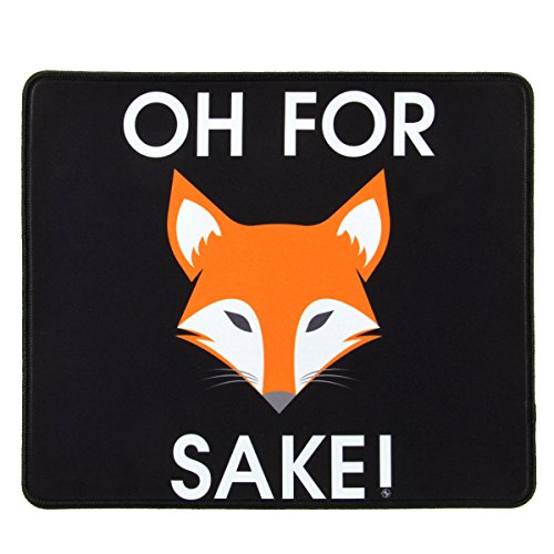 ENHANCE Funny Large Gaming Mouse Pad with Oh for Fox Sake Design (12.6 x 10.6 inches) Novelty Extended Mouse Mat with Anti-Fray Stitching, Non-Slip Rubber Base by ENHANCE