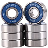 #8: Pack of 8 Skateboard Bearings 608-2RS 8x22x7mm, Double seal and No grease. Fast smooth silent and Long life, The same fit Longboard, Inline Skates, Scooters etc.