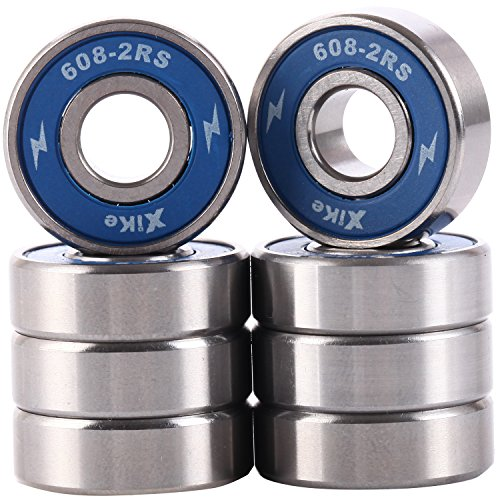 Pack of 8 Skateboard Bearings 608-2RS 8x22x7mm, Double seal and No grease. Fast smooth silent and Long life, The same fit Longboard, Inline Skates, Scooters etc.
