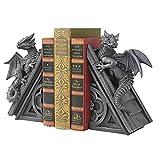 Design Toscano Castle Dragon Gothic Decor Decorative Bookend Statues, 8 Inch, Set of Two, Polyresin, Grey Stone
