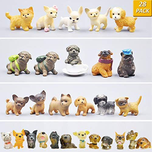 GuassLee Mini Plastic Puppy Dog Figurines for Kids - 28 Pack High Imitation Detailed Hand Painted Realistic Small Dog Figurines Toy Set (Figurine Puppy Dog)