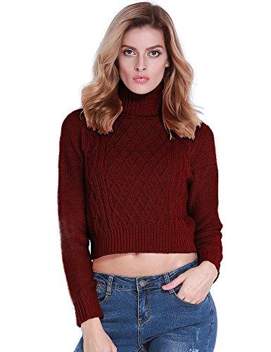 PrettyGuide Women Turtleneck Twist Cable Knit Long Sleeve Crop Sweater Tops Burgundy XL