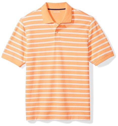 Amazon Essentials Men's Regular-Fit Cotton Pique Polo Shirt, Coral Stripe, Large ()