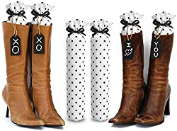 My Boot Trees, Boot Shaper Stands for Closet Organization. Many Patterns to Choose From. 1 Pair (White with Black Polka Dots).
