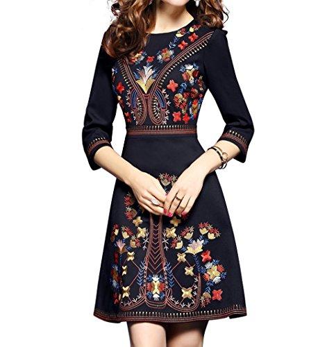 Floral Embroidered Dress - Women's Premium Embroidered Floral 2/3 Sleeves Skater Cocktail Formal Dress (L, Black)
