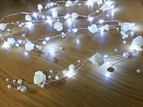 CraftbuddyUS 2M LED Wired Rose & Pearl Garland Spray Cake Floral Hanging Wedding Decoration