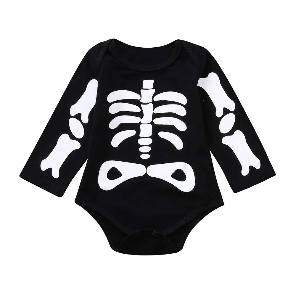 Baby Girl MYONA Bebe Disfraz Halloween Body Bebe Manga Larga Ropa Bebe Recien Nacido Infantil Disfraz Mono Mameluco Esqueleto Negro 6M-24M Baby Boy