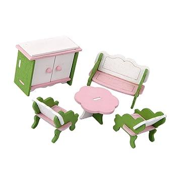 Sharplace Puppenhaus Miniatur Holzmöbel Wohnzimmer Set Für Puppenstube  Dekoration   Inkl. Sofa, Tisch,