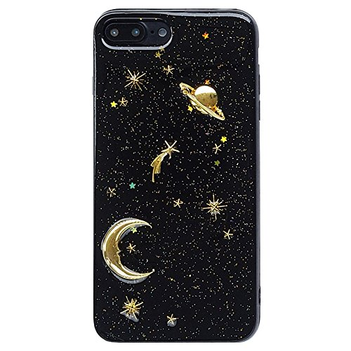 iPhone 7 Plus/iPhone 8 Plus Cute Case for Girls, Glitter Sparkle Bling Shell Phone Case with 3D Planet Pattern [Flexible Soft, Slim Fit, Full Protective] Cover for Apple 7Plus/8Plus 5.5 Inch (Black)