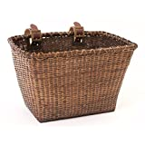 """Retrospec Bicycles Cane Woven Rectangular """"Toto"""" Basket with Authentic Leather Straps and Brass Buckles, Dark Stain"""