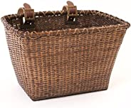 Retrospec Cane Woven Rectangular Toto Basket with Authentic Leather Straps and Brass Buckles