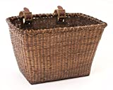 "Retrospec Bicycles Cane Woven Rectangular ""Toto"" Basket with Authentic Leather Straps and Brass Buckles, Dark Stain"
