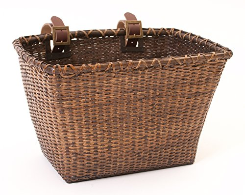 Front Bike Basket - Retrospec Bicycles Cane Woven Rectangular Toto Basket with Authentic Leather Straps and Brass Buckles, Dark Stain
