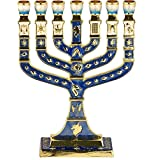 Blue Enamel Menorah 7 Branches Jerusalem 12 Tribes of Israel - Height 5 inch
