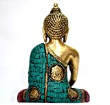 Large Turquoise Coral Medicine Buddha Statue, Tibetan Buddha Statue, Sitting Brass Statue
