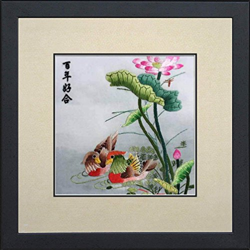Silk Art 100% Handmade Chinese Embroidery Wall Hanging Framed Lovebirds playing under Lotus Leaf Painting Wedding Anniversary Chrismas Gift SilkArt027