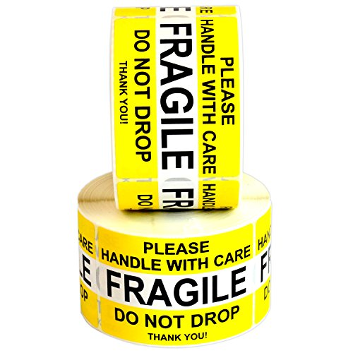 FRAGILE Please Handle With Care Do Not Drop Label Stickers 2 x 3 1000 Labels [2 Rolls x 500] Waterproof, Bright Yellow by Milcoast