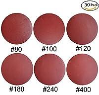 30 PCS 8-Inch NO-Hole PSA Aluminum Oxide Sanding Disc, Self Stick(5 Each of 80 100 120 180 240 400)