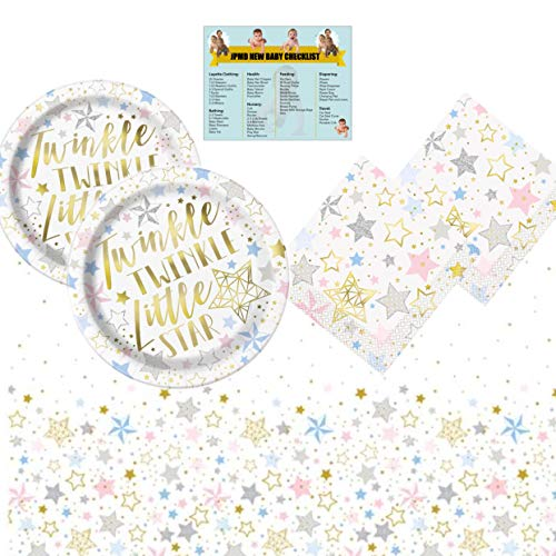 Twinkle Twinkle Little Star Baby Shower/Gender Reveal Party Set For 24 - Includes 1 Table Cover, 24 Lunch Plates, 32 Napkins and A New Baby CheckList By JPMD ()