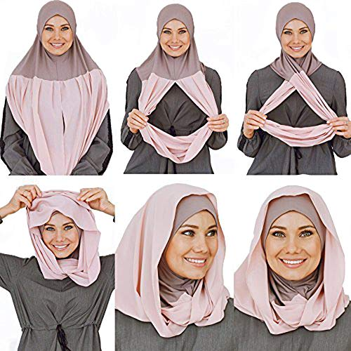 $13.99 Cotton and Shiffon headscarf, instant hijab, ready to wear hijab for women by VeilWear (powder)